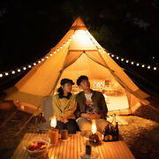 4m Double Door Large Cotton Canvas Bell Tent Glamping Camping Tent 6 People