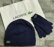 Lacoste Boys Beanie Hat And Gloves Set Cotton And Cashmere Age 4-6 Years Bnwt