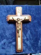 Vintage Catholic Crucifix Sick Call Last Rites Set With Holy Water Bottle And...