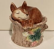 1991 Fitz And Floyd Fox On Stump Hand Painted Pink Flower Salt And Pepper Shakers