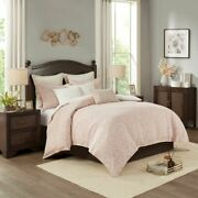 Luxury Blush Pink And White Chenille Damask Comforter Set And Decorative Pillows