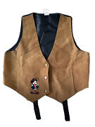 Disney Vintage 90and039s Mickey Mouse Suede Genuine Leather Western Vest Size M/l