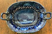 Historical Staffordshire Reticulated Basket - West Point Military Academy