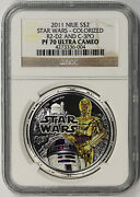 2011 Star Wars Colorized R2-d2 And C-3po Niue Silver 2 Pf 70 Ultra Cameo Ngc