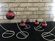 Vintage Kugel Style Ornaments 5 Ruby Red Mercury Glass Round Onion Pinecone 2