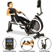 Fitness Reality 4000mr Magnetic Rower Rowing Machine With 15 Workout Programs,