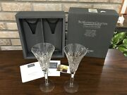 Waterford Crystal Millennium Collection Health Toasting Flutes Signed Jim Leary