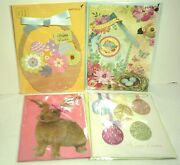 Papyrus Easter Card Lot Of 4 New 3d Bunnies Flowers Eggs Glitter Gems Ribbon