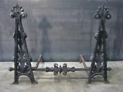 Stunning 1920s Spanish Revival Style Iron Andirons With Cross Bar And Scrollwork