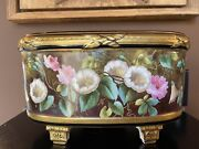 Jardiniere Limoges Old Paris Hand Painted Roses Footed Bowl Ferner Cache Pot