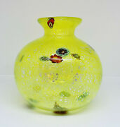 Vase Glass Murano Botticella Yellow With Murrina And Silver Collectibles