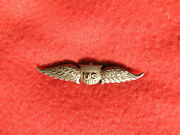 762. Wwi 1.875 Mustache Style Metal Military Aviatorand039s Wing With Proper Pin