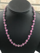 Suzanne Somers Red And Clear Floral Gemstones Necklace 15andrdquo Marked 925 / 34g