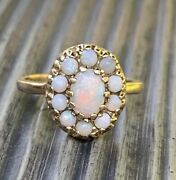 Vintage Victorian 14k Yellow Gold Opal Cluster Halo Crown Setting Ring