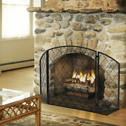 Free Standing Fireplace Screen Three Panel Indoor Living Room Arched Steel Black