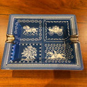 Used Hermes Ashtray Accessory Case Ornament Guam Regular Store Navy Gold Color