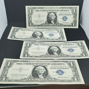 4 Sequential Serial Number 57 One Dollar Silver Certificate Bill Note Collection