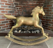 Large 24 X 29 Rare Vintage / Antique Brass With Patina Rocking Horse 19 Lb