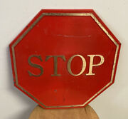 """Vintage Solid Brass Painted Red Stop Sign 18"""" X 18"""", Raised Letters, Heavy Duty"""