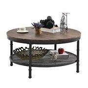 Greenforest Coffee Table Round 35.8 Industrial 2-tier Sofa Table With Storage O