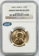 1982 1/2kr Ngc Choice Uncirculated 1/2 Oz Krugerrand Gold South Africa