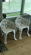 Vintage Cast Iron Victorian Grape And Leaf Garden Bench Great Condition Set Of 3