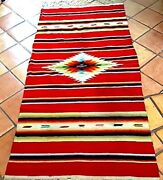 Vintage Red Hand Woven Wool Saltillo Serape Hanging Mexico