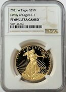 2021 W Gold 50 Proof American Eagle 1 Oz Coin T-1 Ngc Pf 69 Ultra Cameo