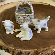 Vtg Lot Of 3 Miniature Cat Family Figurines With Basket Porcelain Ceramic Glossy