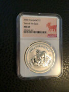 2003 Australia Silver 1 Ounce Oz Year Of The Goat Ngc Ms 69 Goat Label
