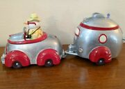 Snowman Convertible Car And Trailer 2 Cookie Jars Paris Beebee New Goand039in South