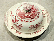 Vintage 1940s Mason's Watteau Red Transferware Ironstone Covered Serving Dish