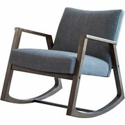 Coaster Mid-century Modern Upholstered Rocking Chair In Gray And Walnut