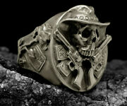 Cowboy Skull Ring Bike Horse Rider Jewelry Sculpted Skeleton Hat Pistols Gothic