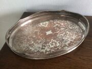 Sheffield England Antique Silver Plate On Copper Large Round Oval Tray