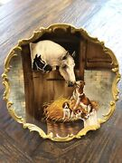 Bandh Limoges France Signed Hand Painted Horse Colt W/ Dog And Puppies 12 Charger
