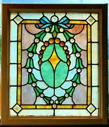 Great Antique Jeweled Stained Glass Window 22 X 25