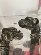 Pair Of Black Boxer Dog Cane Handles For Wooden Walking Cane Stick-working Style