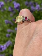 19th Century Large Yellow Sapphire And 2 Ruby Dress Ring Victorian Or Georgian