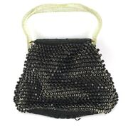 Vintage 1940and039s- 1950and039s Kit Purse Clear Lucite Glitter Handbag Crocheted