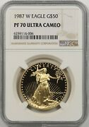 1987-w Gold Eagle G50 Ngc Pf 70 Ultra Cameo One Ounce 1 Oz Fine Gold