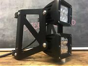 Black Dual Stacked Led Headlight Street Fighter Motorcycle 34mm 35mm Cafe Racer