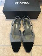 Used Low Heel Pumps Flat Shoes 25cm Size Gray Black Color With Box Rare