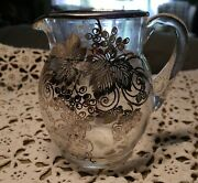 Antique Vintage Sterling Silver Grapes Leaves Overlay On 6 T Glass Pitcher
