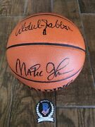 Lakers Kareem Abdul Jabbar And Magic Signed Official Game Ball Uda Beckett Witness