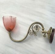 Antique/vintage Brass Gas Light And Glass Shade