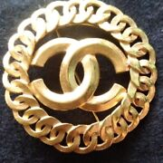 Used Very Rare Brooch 1996 Coco Mark Gold Color Antique Very Nice