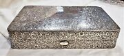 11 Inch Antique Solid Sterling Silver 100 Chased Jewelry Cigar Box 1000+ Grams