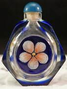 Peking Glass Snuff Bottle Blue Carved To Clear With Painted Enamel Flowers