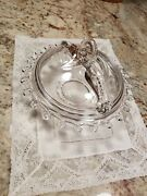 """Heisey Lariat Rare 1940's 7"""" Butter Dish With Loop Dolphin Lid - Gorgeous"""